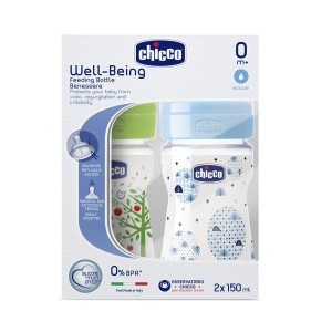 Buy Chicco Bipack Well-Being Feeding Bottle - Blue, Green (0M+) - Nykaa