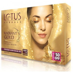 Buy Lotus Herbals Radiant Gold Cellular Glow 1 Facial Kit (Rs. 50 off) - Nykaa