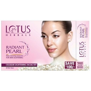 Buy Lotus Herbals Radiant Pearl Cellular Lightening 4 Facial Kit - Nykaa