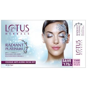 Buy Lotus Herbals Radiant Platinum Cellular Anti-Ageing 4 Facial Kit - Nykaa