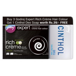 Buy Godrej Expert Rich Creme Natural Black Hair Colour + 1 Cinthol Deo Soap Free (Rs 39 off) - Nykaa