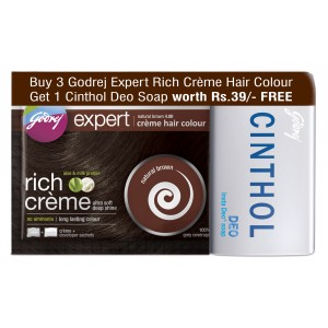 Buy Godrej Expert Rich Creme Natural Brown Hair Colour + 1 Cinthol Deo Soap Free (Rs 39 off) - Nykaa