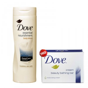 Buy Dove Essential Nourishment Body Lotion 250ml + Free Dove Cream Beauty Bathing Bar 75 gm  - Nykaa