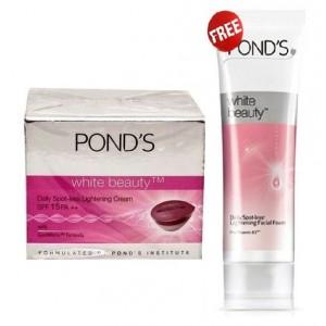 Buy Ponds White Beauty Daily Spot-less Lightening Cream SPF 15 PA++  + Free White Beauty Facial Foam  - Nykaa