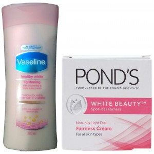 Buy Vaseline Healthy White Lightening Lotion With Free Ponds White Beauty Fairness Cream - Nykaa