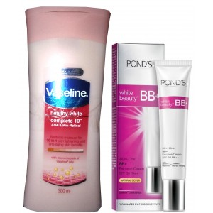 Buy Vaseline Healthy White Complete10 Lotion With Free Ponds White beauty BB+ Fairness Cream  - Nykaa