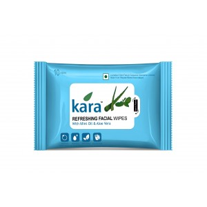 Buy Kara Refreshing Face Wipes With Mint Oil And Aloe Vera (10 Wipes) - Nykaa