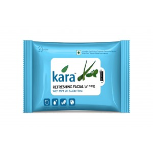 Buy Kara Refreshing Face Wipes With Mint Oil And Aloe Vera (20 Wipes) - Nykaa