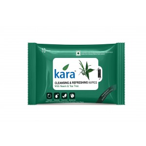 Buy Kara Cleansing And Refreshing Wipes With Neem And Tea Tree (10 Wipes) - Nykaa