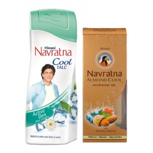 Buy Navratna Cool Talc Active Deo + Free Navratna Ayurvedic Oil Almond Cool (Worth Rs.35) - Nykaa