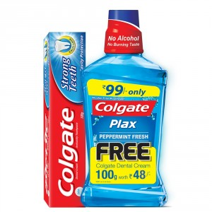 Buy Colgate Plax Peppermint Mouthwash (250ml) + Free Dental Cream (100gm) - Nykaa