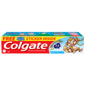 Buy Colgate Kids Toothpaste 2-5 Years Bubble fruit Flavour + Free Peppa Pig Sticker - Nykaa