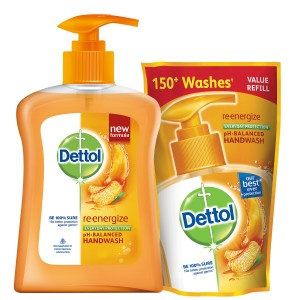Buy Dettol Re-energize pH-Balanced Liquid Hand Wash (200 ml) + Dettol Liquid Soap Refill (185 ml) - Nykaa