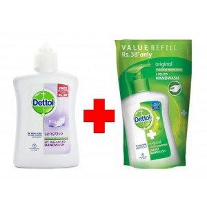 Buy Herbal Dettol Sensitive Ph-Balanced Handwash + Original Liquid Handwash Pouch 185ml - Nykaa