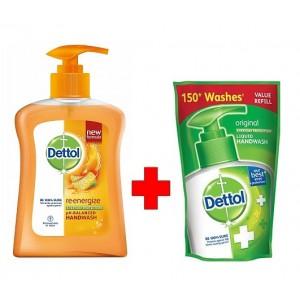 Buy Dettol Liquid Handwash Reenergize 250ml + Free Liquid Handwash Pouch 185ml - Nykaa