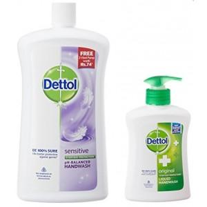 Buy Dettol Sensitive pH-Balanced Handwash (900 ml) + Free Original Liquid Handwash Pump (215ml) - Nykaa