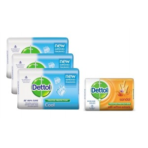 Buy Dettol Cool Soap (Pack Of 3) + 125gm Dettol Sandal Soap Free (Rs. 5 Off) - Nykaa