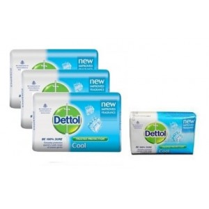 Buy Dettol Cool Soap (Pack Of 3) + 125gm Dettol Soap Free - Nykaa