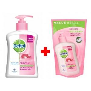 Buy Dettol Skincare Ph-Balanced Liquid + Skincare Liquid Handwash Pouch 185ml - Nykaa