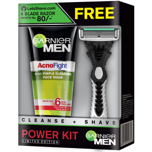 Buy Garnier Men Acno Fight Face Wash + LetsShave Razor Free - Nykaa