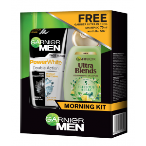 Buy Garnier Men PowerWhite Double Action Face Wash + Free Ultra Blends Shampoo - Nykaa