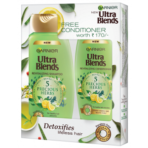 Buy Garnier Ultra Blends 5 Precious Herbs Shampoo 340ml + Free Conditioner Worth Rs 170/- - Nykaa