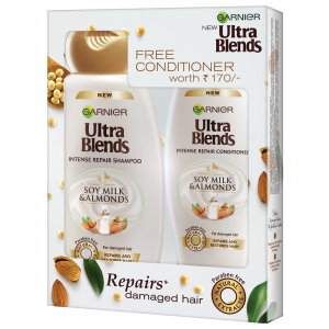Buy Garnier Ultra Blends Soy Milk & Almonds Shampoo 340ml + Free Conditioner Worth Rs 170/- - Nykaa