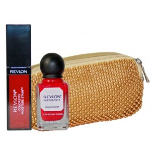 Buy Revlon Retro Red Lip & Nail Beauty Collection With Golden Beeds Pouch - Nykaa
