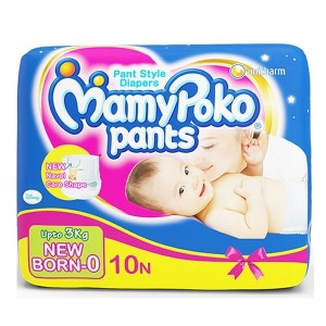Buy MamyPoko Pants Diapers For New Born Up to 3 Kg - 10 Pieces - Nykaa