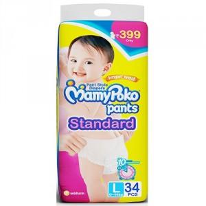 Buy MamyPoko Pants Standard Diaper - L (34 Pieces) - Nykaa