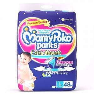 Buy MamyPoko Pants Extra Absorb Diapers - L (48 Pieces) - Nykaa