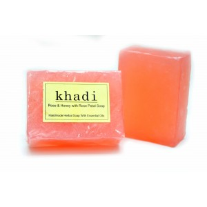 Buy Khadi Rose & Honey with Rose Petals Soap - Nykaa