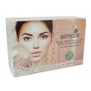 Buy Biotique Pearl White Facial Kit With Pearl Bhasma For Fairer Complexion Skin - Nykaa