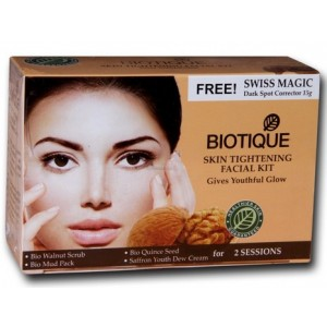 Buy Biotique Skin Tightening Facial Kit With Free Swiss Masic Dark Spot Corrector 15gm - Nykaa