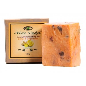 Buy Aloe Veda  Luxury Butter Bathing Bar - Orange & Ginger Scrub - Nykaa