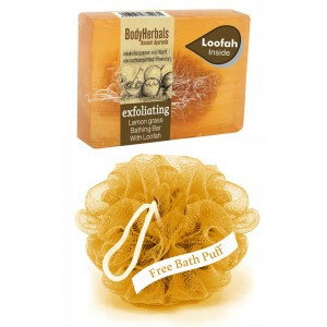 Buy BodyHerbals Exfoliating, Hand Made Lemon Grass Bathing Bar with Loofah - Nykaa