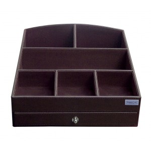 Buy Panache PU Leather Cosmetic Organiser With Brown Drawer - Nykaa