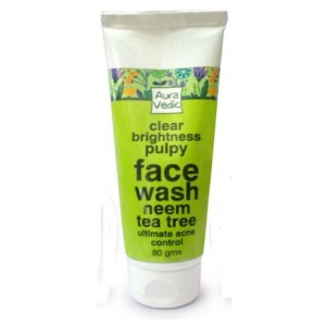 Buy AuraVedic Clear Brightness Pulpy with Neem Tea Tree Face Wash - Nykaa