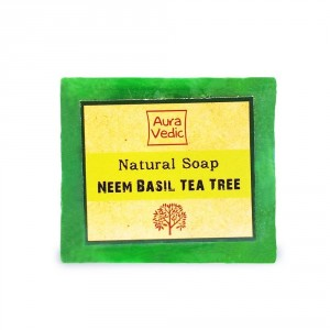 Buy Auravedic Natural Soap Neem Basil Tea Tree - Nykaa