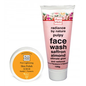 Buy Herbal Auravedic Saffron Almond Rose Face Wash And Sandal Polish - Nykaa