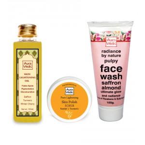 Buy Auravedic Skin Lightening Combo Oil + Mask + Face Wash - Nykaa