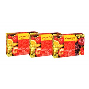 Buy Vaadi Herbals Value Pack Of 3 Fruit Splash Soap With Extracts Of Orange, Peach, Green Apple & Lemon - Nykaa