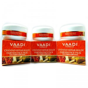 Buy Vaadi Herbals Value Pack Of 3 Chandan Kesar Haldi Fairness Face Pack - Nykaa