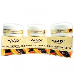 Buy Vaadi Herbals Value Pack Of 3 Papaya Fairness Scrub With Honey & Saffron - Nykaa