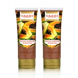 Buy Vaadi Herbals Papaya Fairness Scrub Gel With Honey & Saffron (Pack Of 2) - Nykaa