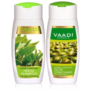 Buy Vaadi Herbals Superbly Smoothing Heena Shampoo With Olive Conditioner - Nykaa
