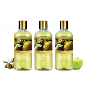 Buy Vaadi Herbals Breezy Olive & Green Apple Shower Gel (Pack of 3) - Nykaa
