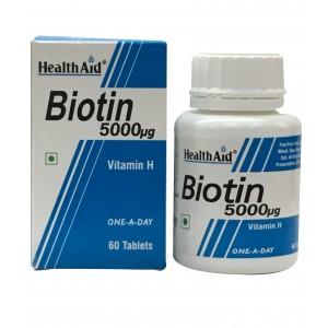 Buy HealthAid Biotin 5000mg 60 Tablets - Nykaa