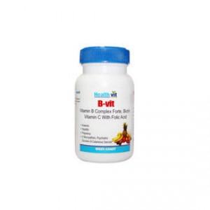Buy HealthVit B-Vit Vitamin B Complex With Bioton, Vitamin C & Folic Acid (60 Tablets) - Nykaa