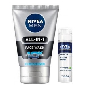 Buy Nivea Men All In One Face Wash + Free Men Sensitive Shaving Foam - Nykaa